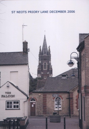 Looking east from Priory Lane towards St Neots Museum in New Street, in December 2006.