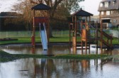 Flooding around the play equipment in the Riverside Park, in 2006