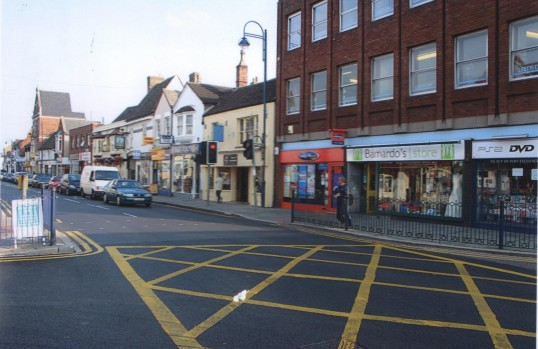 View looking east along St Neots High Street from Barretts corner, in 2006