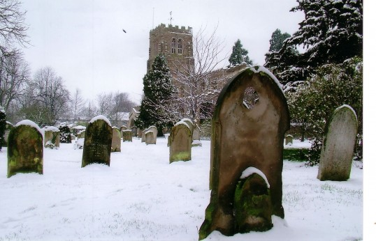 Eaton Socon, St. Mary's Church and churchyard from the south east after a snowfall by Mrs. L. Woodward, in 2007