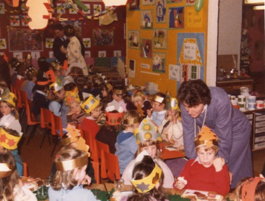 1981 Christmas at Bushmead Infants School in Eaton Socon