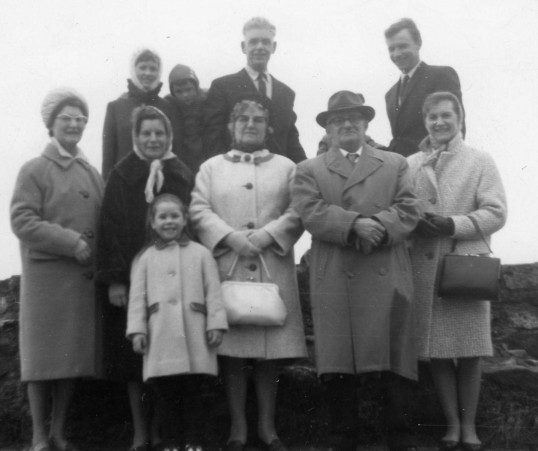 Family at Wyboston Land Settlement in 1968