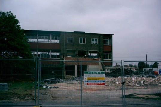Demolition of Bushmead Junior School ion September 2002, formerly Bushmead Secondary School, Eaton Socon