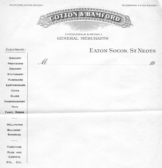 Cotton and Bamford Shop Headed Paper, Eaton Socon Village Green, dated 1930s