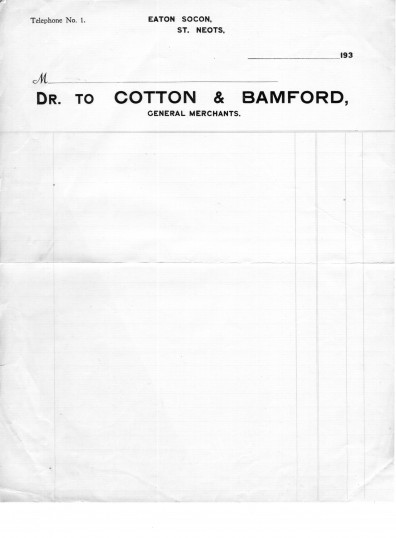 Cotton and Bamford Shop Receipt, Eaton Socon Village Green, dated 1930s