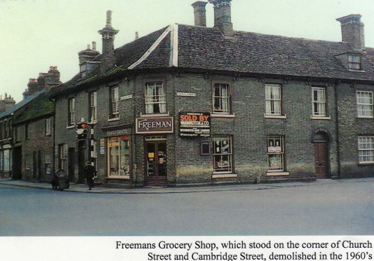 Freemans Grocers Shop on the Cambridge Street, Church Street corner, St Neots, demolished in the 1960's