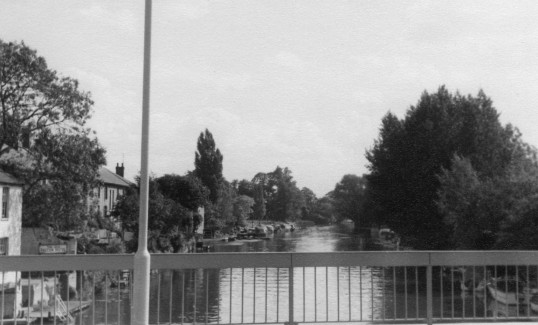 View looking south from the new river bridge in St Neots in the 1960s, with River Terrace on the left