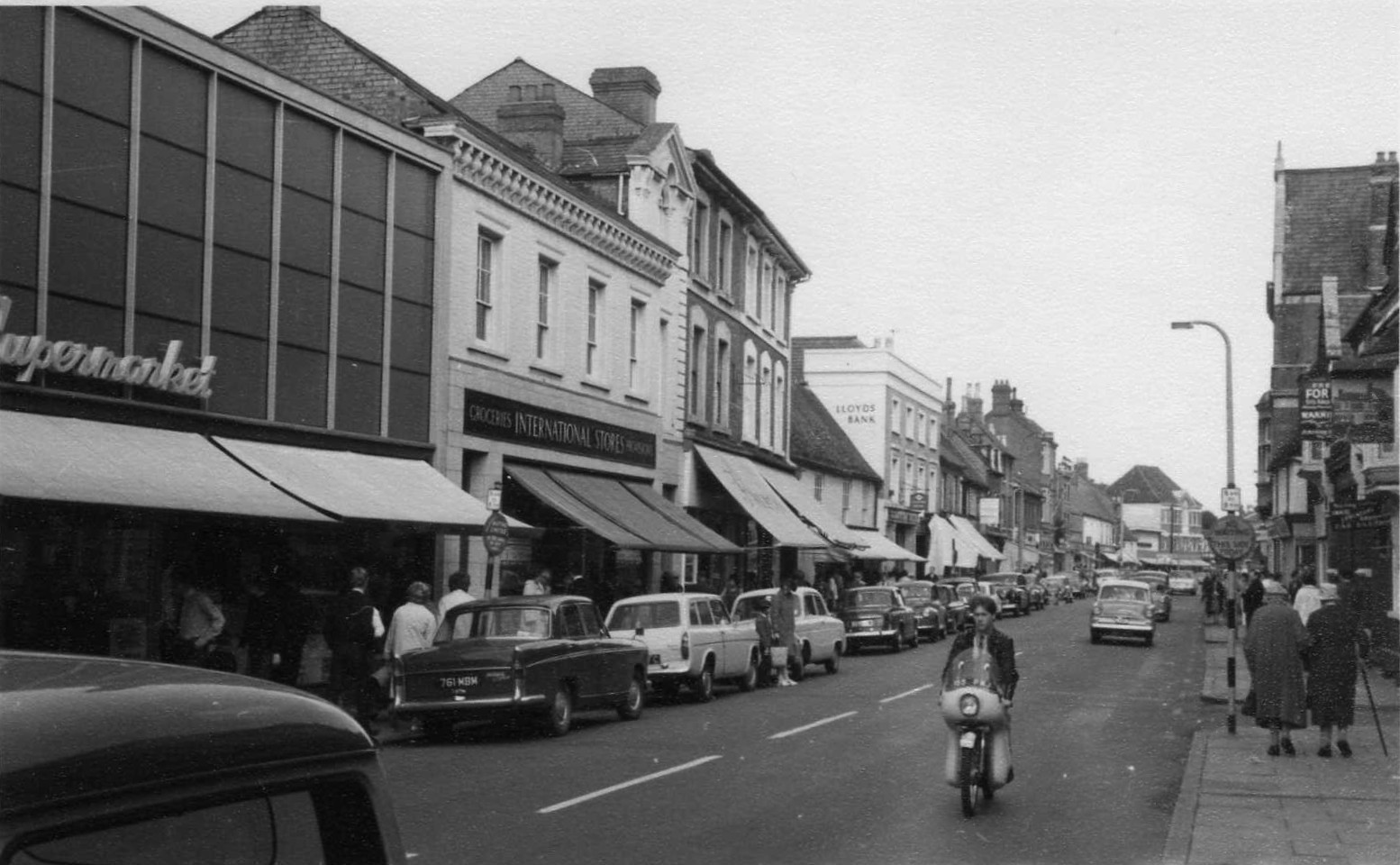 Shops In St Neots High Street Looking East In The Mid