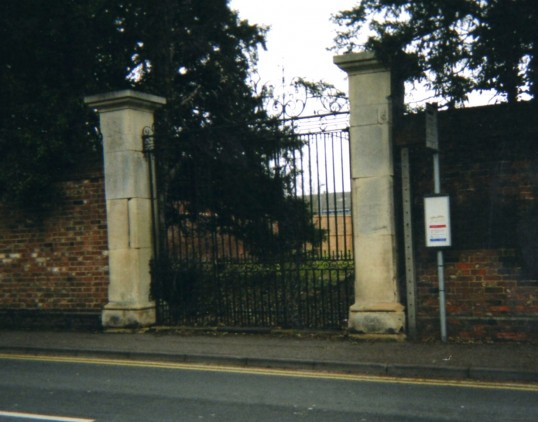 Entrance gates to former Hall Place, Church Street, St Neots in 2007