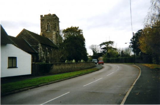 Little Paxton High Street, looking towards the church in 2007