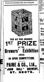 Advert for Paines Beer in St Neots Advertiser, October 1915