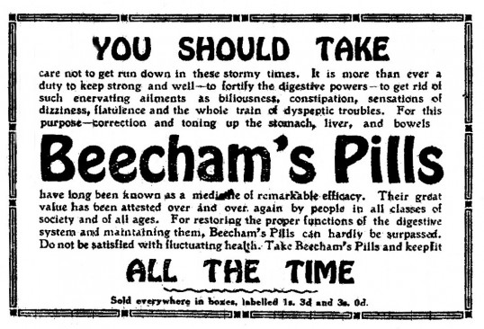 Beechams Pills advert in St Neots Advertiser, May 1916