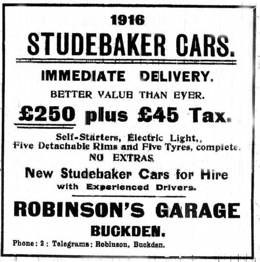 Studebaker cars advert, Buckden, St Neots Advertiser November 1915