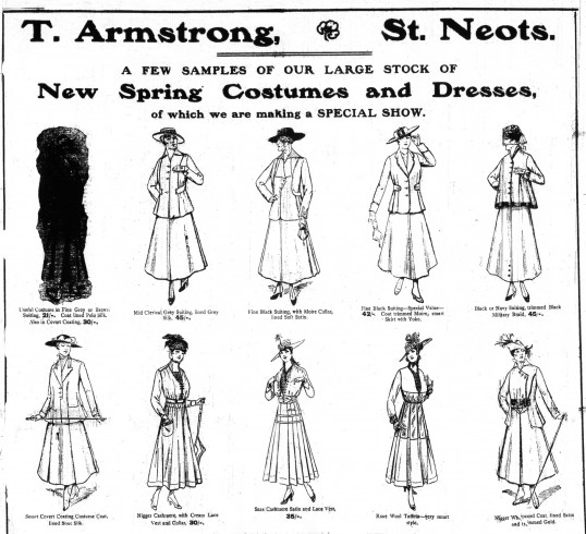Armstrongs dresses advert, St Neots Advertiser Mar 24 1916