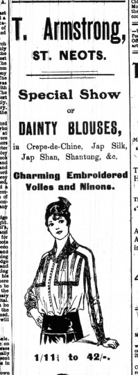Armstrongs blouses advert, St Neots Advertiser, April 1916