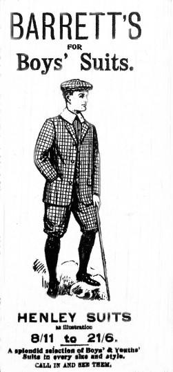 Barrett's Boys Suits advert, St Neots Advertiser, May 1916
