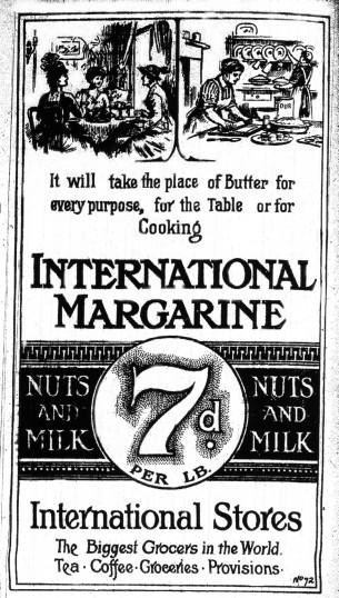 International Stores Margarine advert, St Neots Advertiser, April 1916