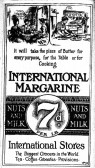International Stores Margarine advert, St Neots Advertiser, April 1916