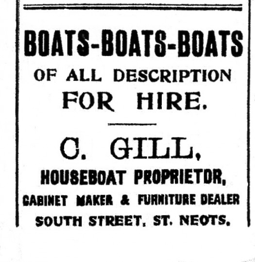 Gills Boats for Hire advert, St Neots Advertiser, August 1915