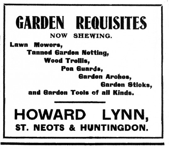 Howard & Lynn Garden Requisites advert, St Neots Advertiser, May 1916
