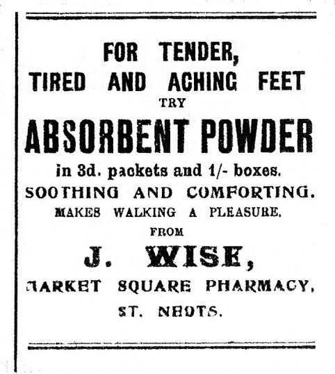 J. Wise advert, St Neots Advertiser, June 1916