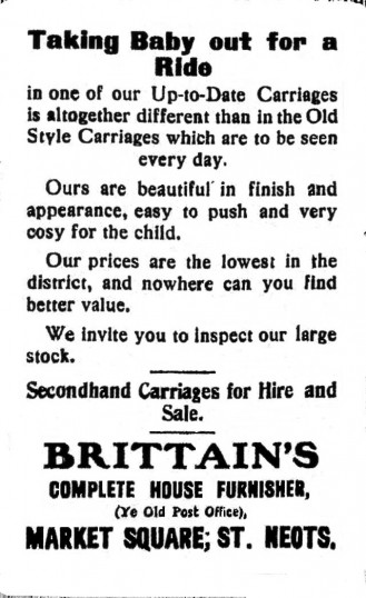 Brittains Baby Carriages advert, St Neots Advertiser, August 1915