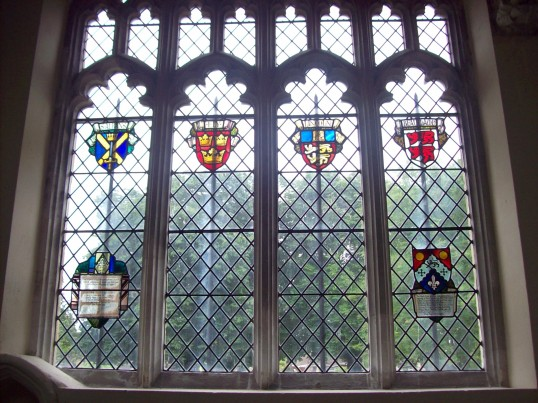 Eaton Socon - stained glass windows at St Marys Church, in June 2008