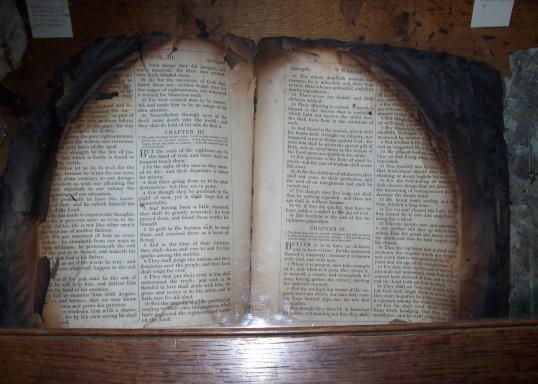 Eaton Socon Church - burnt bible retrieved after the 1930 fire
