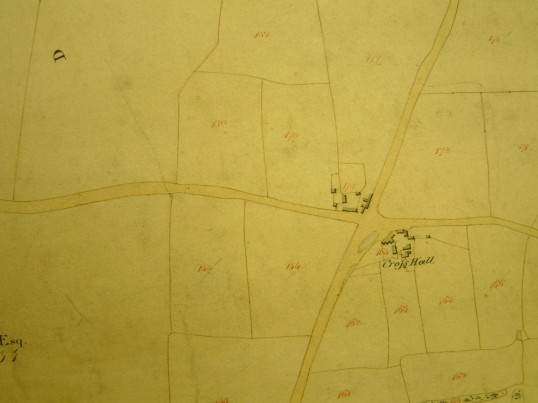 Draft 1790's Eaton Socon Parish Enclosure Award Map showing the two farmhouses at Cross Hall, Eaton Ford