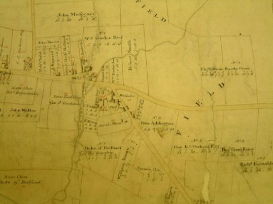 Draft 1790's Eaton Socon Parish Enclosure Award showing the area near the present Health Centre
