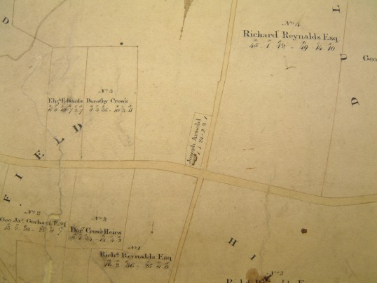 Draft 1790's Eaton Socon Parish Enclosure Award Map showing Duloe Windmill on the Great North Rd
