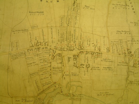Draft 1790's Eaton Socon Parish Enclosure Award showing Eaton Socon village up to the George and Dragon