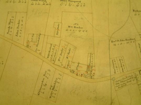 Draft 1790's Eaton Socon Parish Enclosure Award Map showing Little End area near the Crown Public House