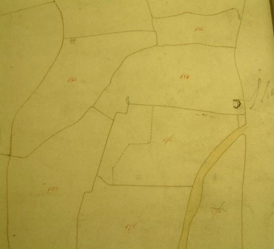 Draft 1790's Eaton Socon Parish Enclosure Award Map showing Sharpes Barns at the edge of the parish