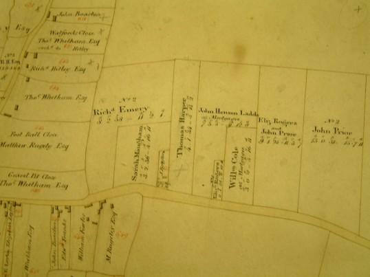 Draft 1790's Eaton Socon Parish Enclosure Award map showing part of Wyboston