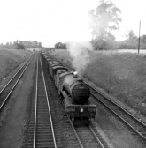 Steam freight train heading south towards St Neots Railway Station in 1952