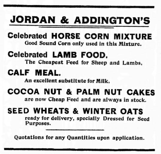 Jordan and Addingtons Advert, St Neots Advertiser, November 1915
