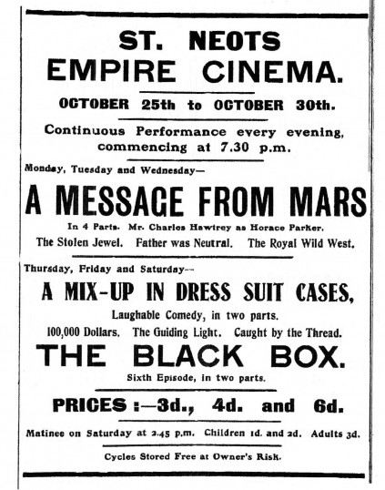 St Neots Cinema Advert, St Neots Advertiser, October 1915