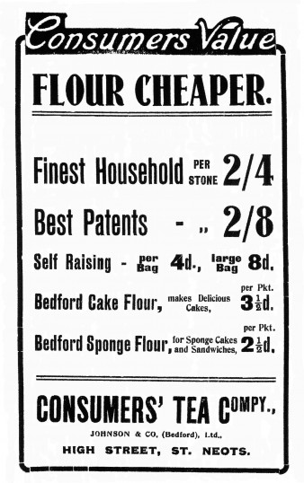 Consumers Flour Advert, St Neots Advertiser, July 1916