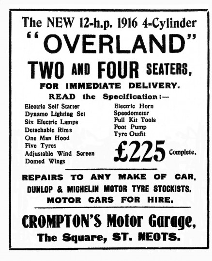 Overland Cars Advert, Crompton's Garage, Market Square, St Neots Advertiser, May 1916