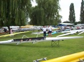 Boats on Regatta Meadow waiting for the racing at the St Neots Annual Regatta on the River Great Ouse July 2008
