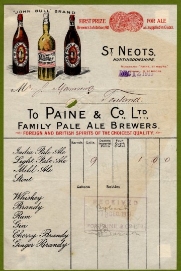 Paine and Co Brewery Receipt, St Neots Market Square, December 1919