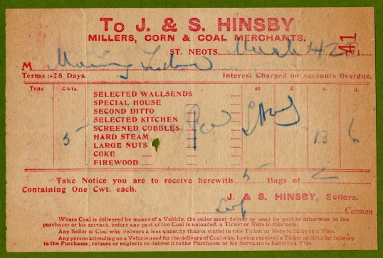 Hinsby coal merchant's receipt, Huntingdon Street, St Neots, March 1922