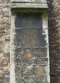 Eaton Socon Church - James Topham's Memorial on a church buttress, dated 1684