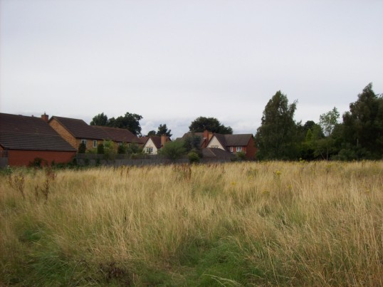 Site of new Eatons Community Centre with Maltings housing on the left, Eaton Ford, in August 2008