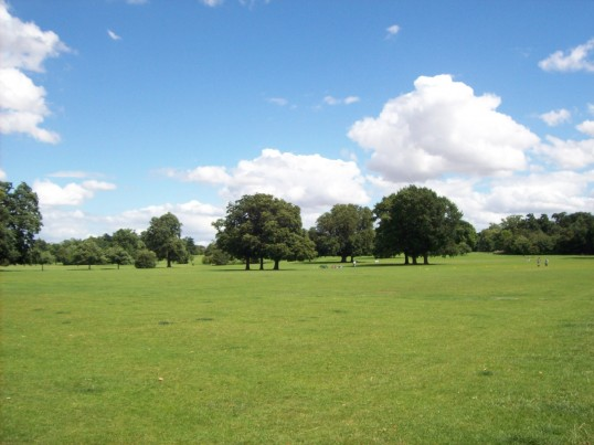 View of Priory Park, St Neots, looking north from the car park