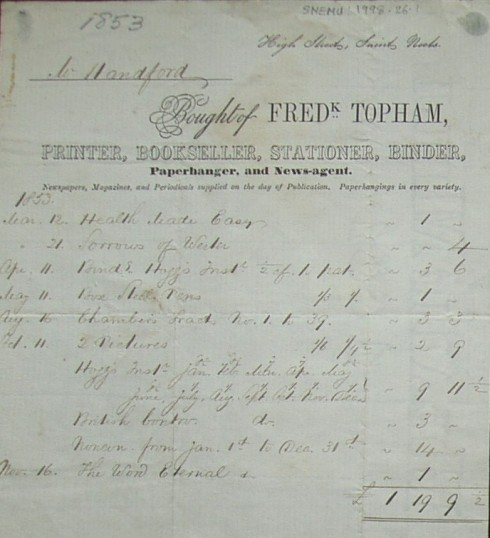 Invoice from Frederick Topham, printer and bookseller of High Street, St Neots to Mr Handford, dated 1853