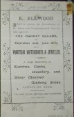 E. Ellwood's Watchmaker and Jeweller's shop in St Neots Market Square, -  printed handbill announcing its opening in July 1893