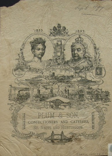 Printed handbill for Plum & Son Confectioners and Caterers commemorating Queen Victoria's Silver Jubilee, in 1897