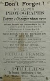 Printed handbill advertising J. Phillips Photographs in The Promenade, Cambridge Street, St Neots, dated 1890